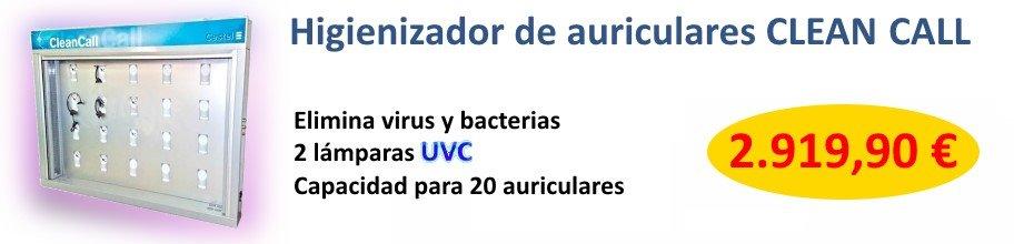 Armario higienizador de auriculares CLEANCALL elimina virus y bacterias de los auriculares con 2 lámparas UVC
